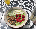 Healthy breakfast at Boho - smoothie and Prosecco cocktails
