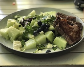 Beef fillet with melon, feta goat cheese and some nice herbs