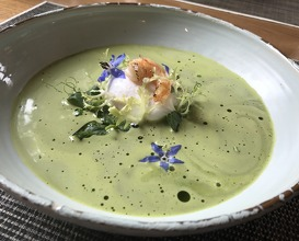 Green pea soup poached egg shrimp