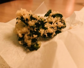 Frozen, grated rakfisk with kale and damson vinegar