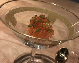 Tartar: line caught wild artic char with it's roe washed in rice wine, vinaigrette of smoked fish