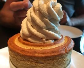 Pumpkin soufflé, Brandy Alexander whipped cream
