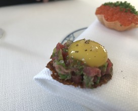 Trout roe and steak tartare