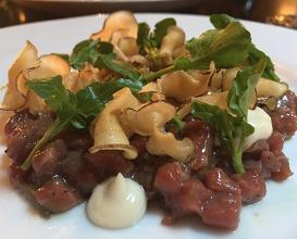 Raw Hereford beef, Jerusalem artichoke & pickled walnut