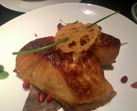 Grilled Chilean sea bass with pomegranate glaze
