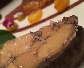 "Foie-gras ""au Torchon"", Kumquat, Calamansi, Cacao & lavender brioche"