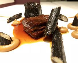 F1 wagyu raised in Highlands, burned salsify, black curry