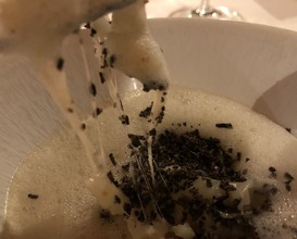 Celery risotto with black truffle and smoked emulsion