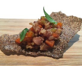 Bacon marmalade, cider carrot, fennel, quinoa chip
