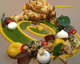 Cauliflower, curry, grape, pennywort