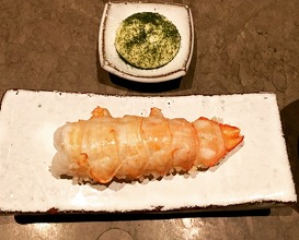 Deep fried langoustine, dried rice, clarified butter mayonnaise