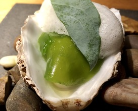 Oyster, Granny Smith apple, oyster leaf