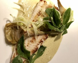 Dover sole, Ice leaf, artichoke, spring onion, olive sauce