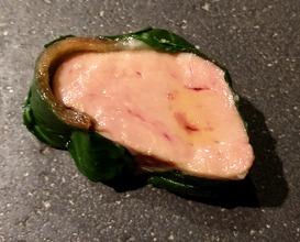 Foie gras, smoked eel, apple cooked in Italian apple vinegar, Japanese leaf