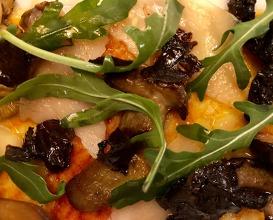 Pasta, piquillo and iberico carpaccio, mushrooms and Parmesan