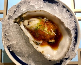 Oyster with ponzu and sobrassada