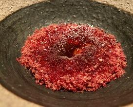 """Rømmegrøt"" a porridge of very sour cream, smoked reindeer heart and salted butter with plum vinegar"