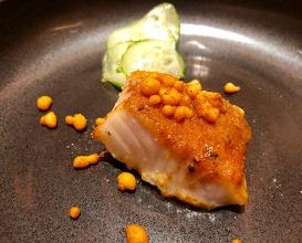 Baked cod amritsari, mint boondi
