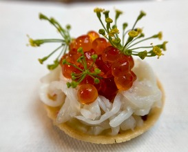 Beer-cooked king crab: trout roe washed in sake, crown dill, aspic