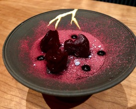Salt baked chewy beetroot, whipped liquorice, griottes cherries and aged violet vinegar