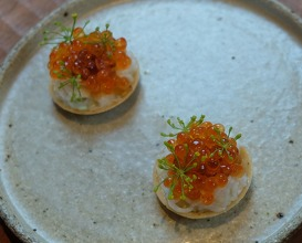 beer-cooked king crab, trout roe