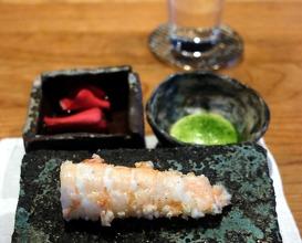 langoustine, yuzu kosho, crispy rice (koshihikari), dried green onions, emulsion of clarified butter infused  with ginger
