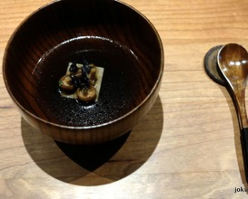 tea of fermented mushrooms and grilled quail with red seaweed and silken tofu