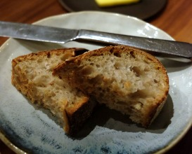 Home made sourdough bread and lightly salted butter