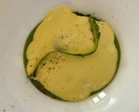 Asparagus purée, 62 degree egg yolk and fondue mousse