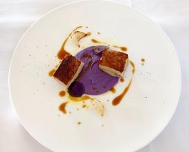 Pig belly caramelised, purple mashed potato
