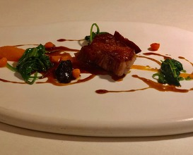Candied black pork neck with plums and sweet potato