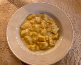Homemade potato gnocchi with Castelmagno cheese sauce