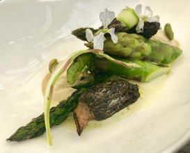 Green dune asparagus - pistacio - morels