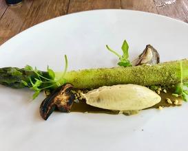 Asparagus rolled in gremolata, pistachio mousseline