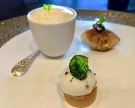 Trilogie Gourmande: Lobster with grenye, asparagus mousseline and almond. Puff pissaladiere, anchovy tapenade. Tzatziki, Ceps, Greek yoghurt and cucumber