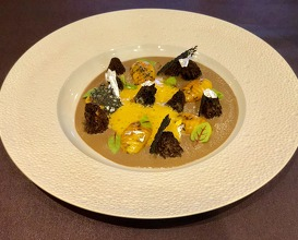 Yellow and brown morels, mousseline of morel, roasted gnocchi with poultry broth and savoury flavours, licorice zabaglioni