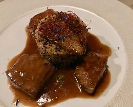 Quinoa timbale with Australian lamb tenderloin, truffle honey and apple pepper cream