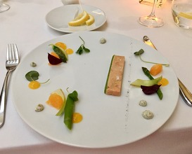 "Foie gras ""mi cuit"" with green asparagus, mandarin, caviar salt & oxalis"