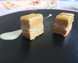 1995 Mille-feuille of smoked eel, foie-gras, spring onions and green apple