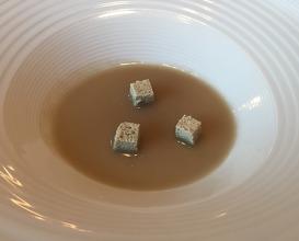 "Pumpkin seeds tofu, with ""mole de chicatana"""
