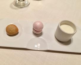 Chocolate beignet, Raspberry macaroon, Sheep milk curd