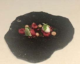 Red fruits, basil and Etxano cheese ice cream