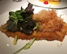 Pork Schnitzel, Asparagus, Mustard Greens, Crispy Potato