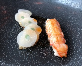 Langoustine with kohlrabi and marjoram