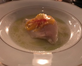 trout, tomato, basil