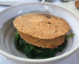 Summer spinach « Tetragon », walnut from Grenoble, bone jus scented with lavender