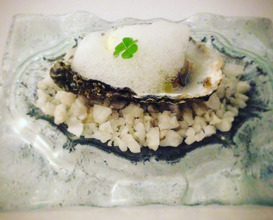 Viagra: Freshly shucked oyster, yuzu spiced marinated apples and horseradish ice cream, lemon air