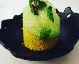 Alchemist's cake: Dhokla; lentil flour cakes with curry leaves, mustard, chutney and coconut ice cream
