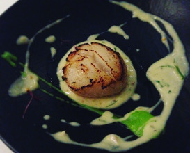 Treasure shells: Norwegian diver scallops, Bengali mustard, cognac and spiced sour cream