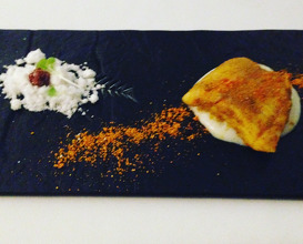 Gunpowder: Fiery spiced Thai seabass, curry leaf powder, basmati rice porridge, tamarind sugar